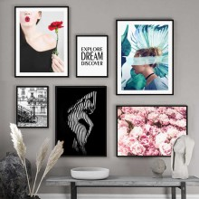 Woman Body Art Peony Flower Dream Quotes Wall Art Canvas Painting Nordic Posters and Prints Wall Pictures for Living Room Decor