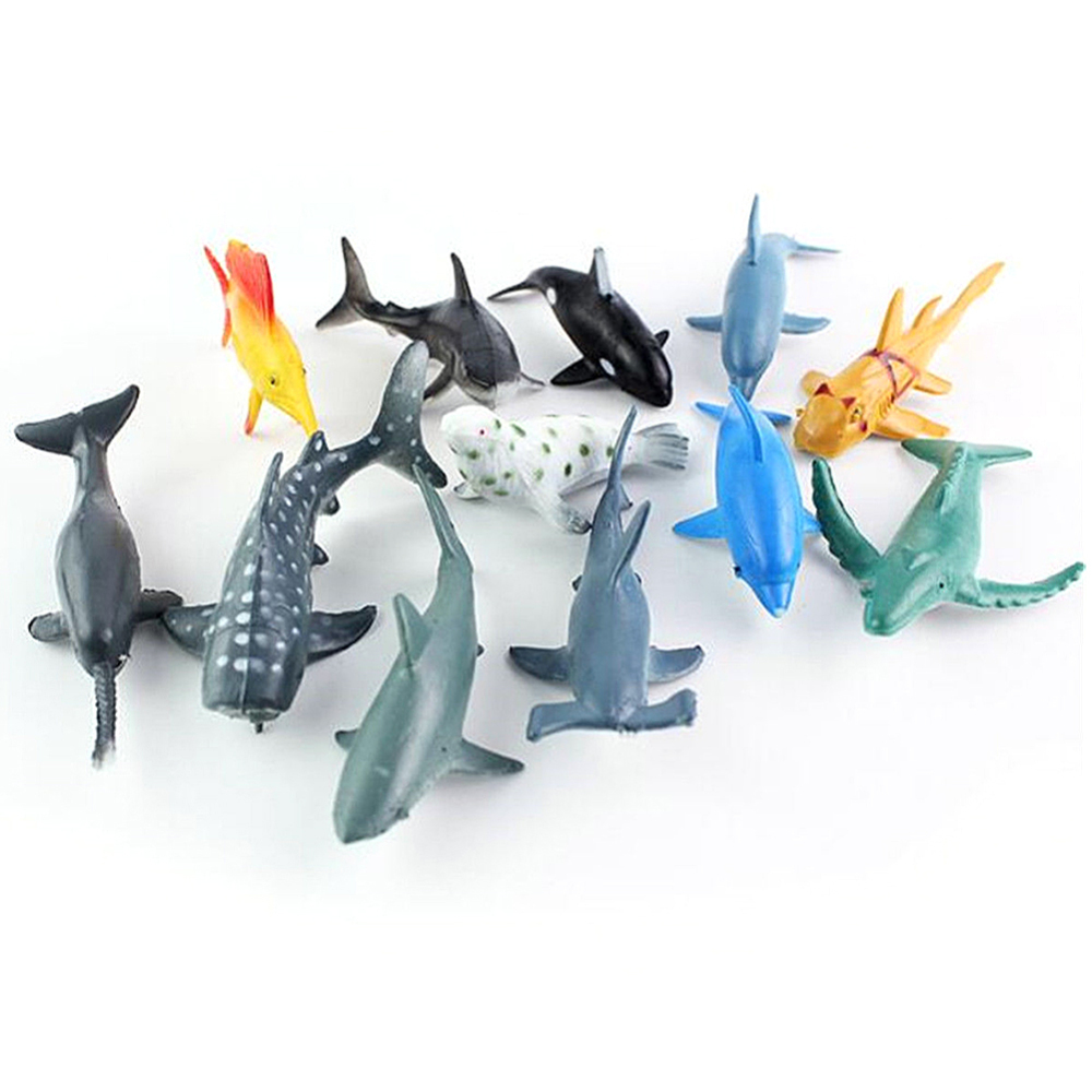 24 PCS Sea Life Animals Dolphin Crab Shark Turtle Model Action Figures Figurines Ocean Marine Aquarium Miniature Education Toys image