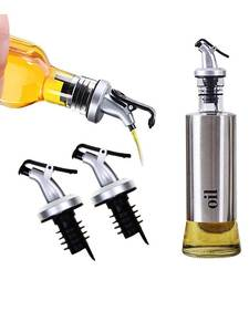 Cruet-Dispenser-Set Stainless-Steel Kitchen Home Vinegar Oil And with Drip-Free Spouts