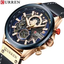カレンウォッチ男性ファッションクォーツ腕時計レザーストラップスポーツクォーツ腕時計クロノグラフ時計男性クリエイティブデザインダイヤル