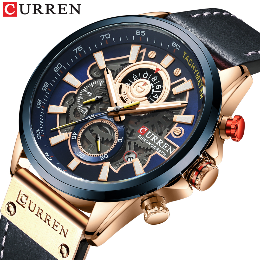 CURREN Watch Men Fashion Quartz Watches Leather Strap Sport Quartz Wristwatch Chronograph Clock Male Creative Design Dial