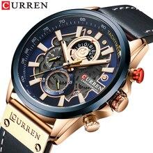 CURREN İzle erkekler moda kuvars saatler deri kayış spor kuvars kol saati Chronograph saat erkek yaratıcı tasarım Dial