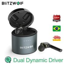 BlitzWolf BW FYE8 TWS APTX אמיתי אלחוטי Bluetooth 5.0 אוזניות אוזניות גיימר ספורט אוזניות נהג דינמי כפול ללא ידיים Hifi אוזניות IPX5 עמיד למים ידית ארוכה גברים נשים מוסיקה