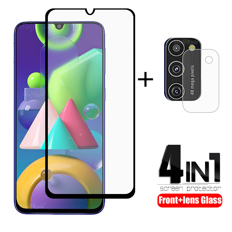 4-in-1 For Samsung Galaxy M21 Glass For Samsung A51 Tempered Glass For Samsung A51 A71 A01 A31 A10 A30 A50 S M21 M31 Lens Glass