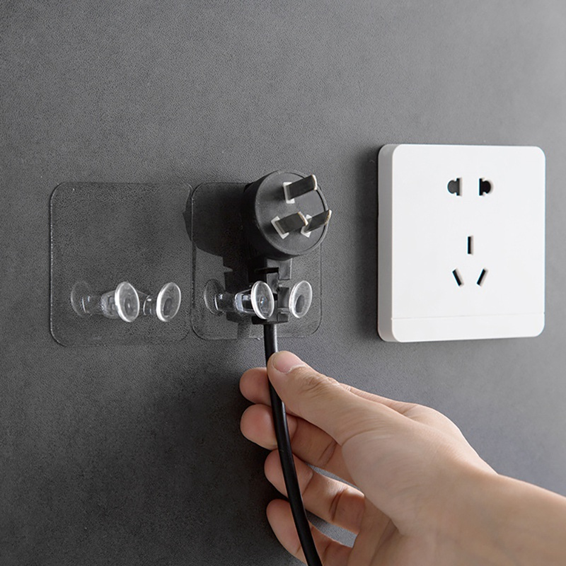 2019Transparent Plug Hook Socket Wire Nail Bracket Storage Hook Plastic Seamless Power Holder Kitchen Wall Strong Adhesive Hooks in Hooks Rails from Home Garden