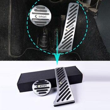 2 uds. Antideslizante de aleación de aluminio de la cubierta del pedal del freno del acelerador para Mercedes Smart Forfour Fortwo 453 451 Modificación de piezas de automóviles