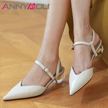 ANNYMOLI Two Piece Shoes Woman Real Leather High Heels Crystal Strange Style Heel Pumps Buckle Pointed Toe Female Footwear Beige winter female woman round high engraving heel mid high rhinestone crystal buckle black real leather boots pointed toe shoe 1118