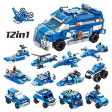 569Pcs 2 Changes Track Plain 12 IN 1Police Assault Car Model Educational Building Blocks Toys For Boys Diy Birthday Holiday Gift(China)