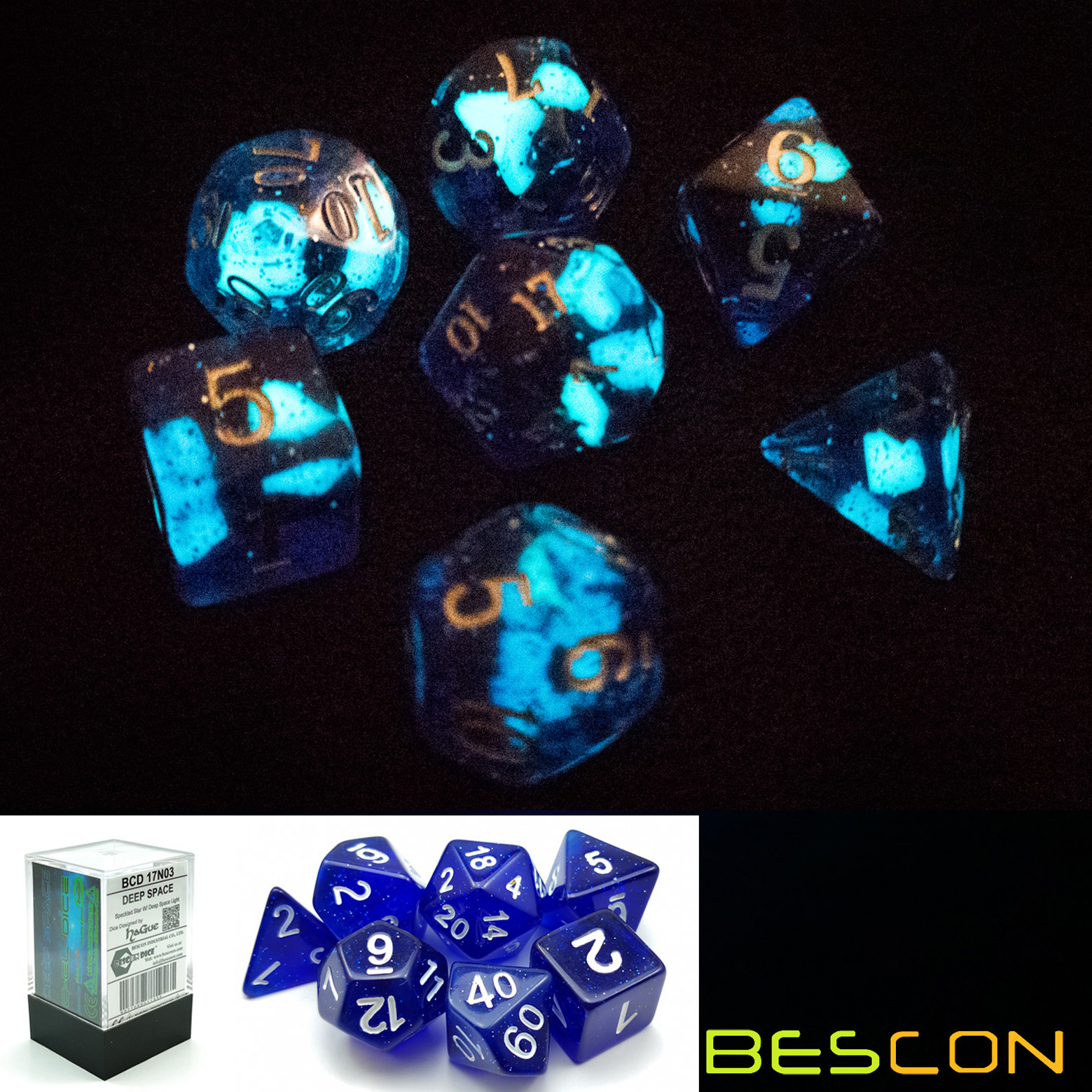 Bescon Super Glow In The Dark Glitter Polyhedral Dice Set DEEP SPACE, Luminous RPG Dice Set,Glowing Novelty DND Game Dice