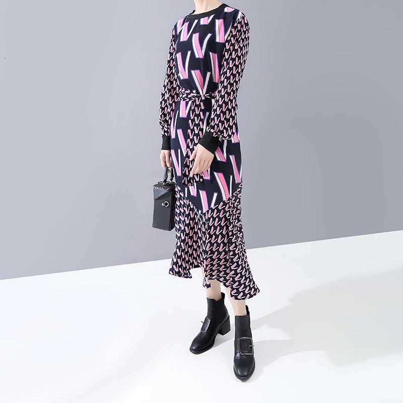 [EAM] Women Pattern Print Split Temperament Dress New Round Neck Long Sleeve Loose Fit Fashion Tide Spring Autumn 2020 1N250 2