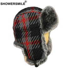 SHOWERSMILE Plaid Russian Fur Hat Ushanka Winter Women Bomber Earflap Checkered Warm Thick Brand Female Trapper