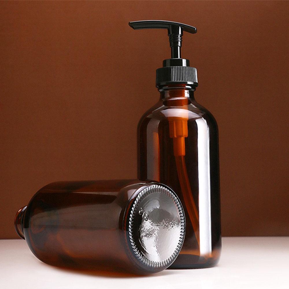 Brown Glass Soap Dispenser 240ml 480ml Bathroom Delivery Bottle for Shampoo Shower Gel Hair Conditioner Simple Press Pump Bottle