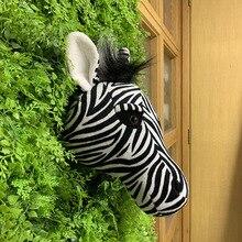 Дизайн мягкие украшения для дома в виде животных Дикая Зебра голова животного игрушка