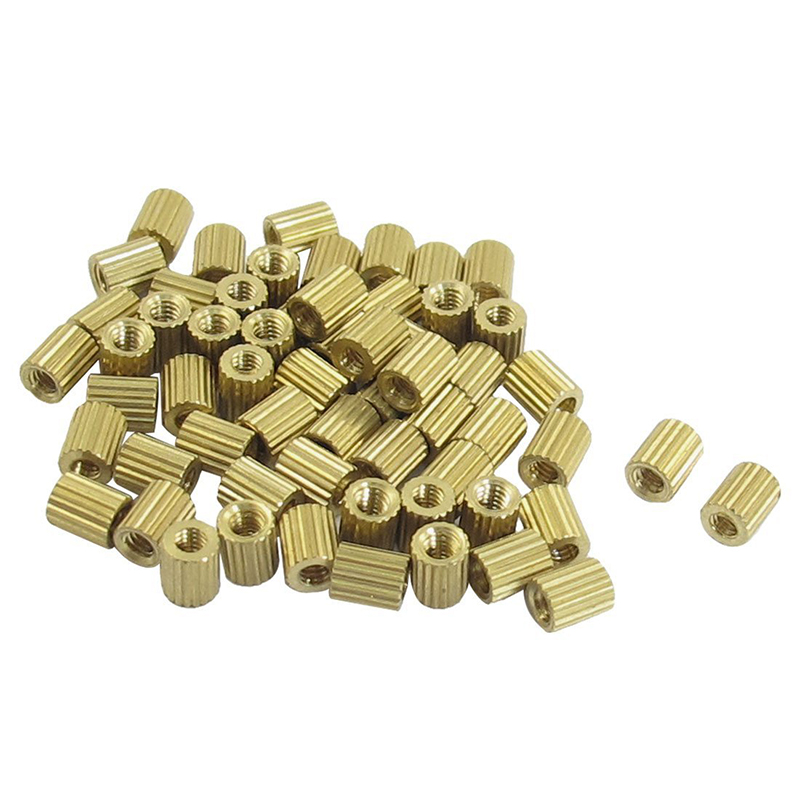 <font><b>M2x3mm</b></font> Cylinder Shaped Female Threaded Brass Standoff Spacer 50Pcs image