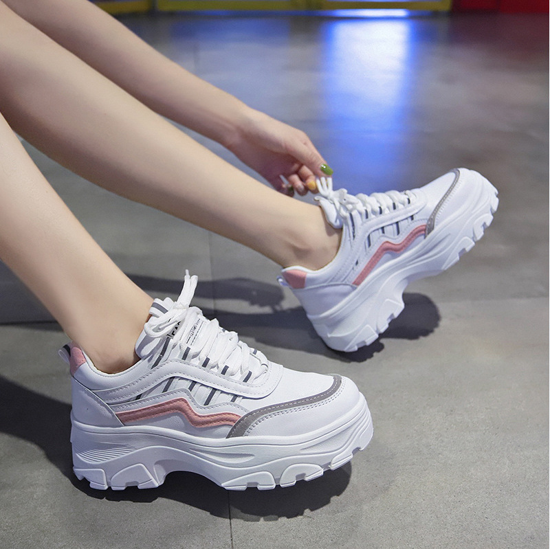 Women Chunky Sneakers Fashion Platform Sneakers White Ladies Brand Designer Casual Shoes Woman Leather Sports Dad Shoes Female 6