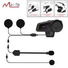 אוניברסלי זיווג עמיד למים 6 רוכבים 1000M אופנוע Bluetooth 5.0 FM MP3 קסדת Casco אינטרקום אוזניות Interphones Maxto M2