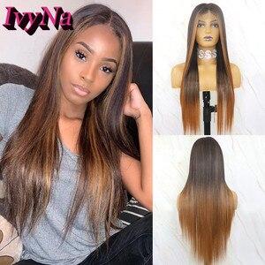 IvyNa # 1B pelucas sintéticas marrones mixtas para mujeres negras Futura resistente al calor pelo completo hecho a máquina pelucas de la parte media