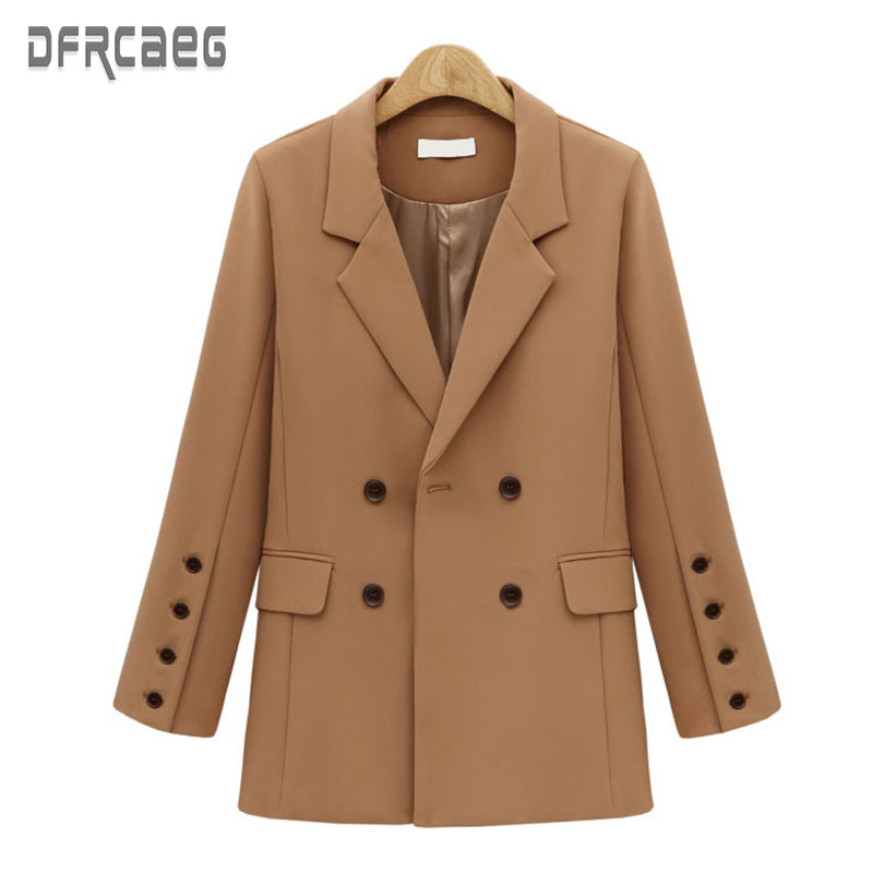 2019 New Autumn Double Breasted Women's Long Blazers Casual Office Lady Small Suit Jacket Single Breasted Sleeve Loose Blazer