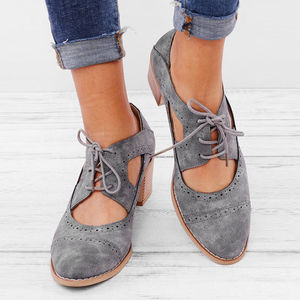 Summer Vintage London Brogue Shoes Women Lace Up Sandal Chunky High Heels Cut-Outs Female Casual Footwear Plus Size 35-43(China)