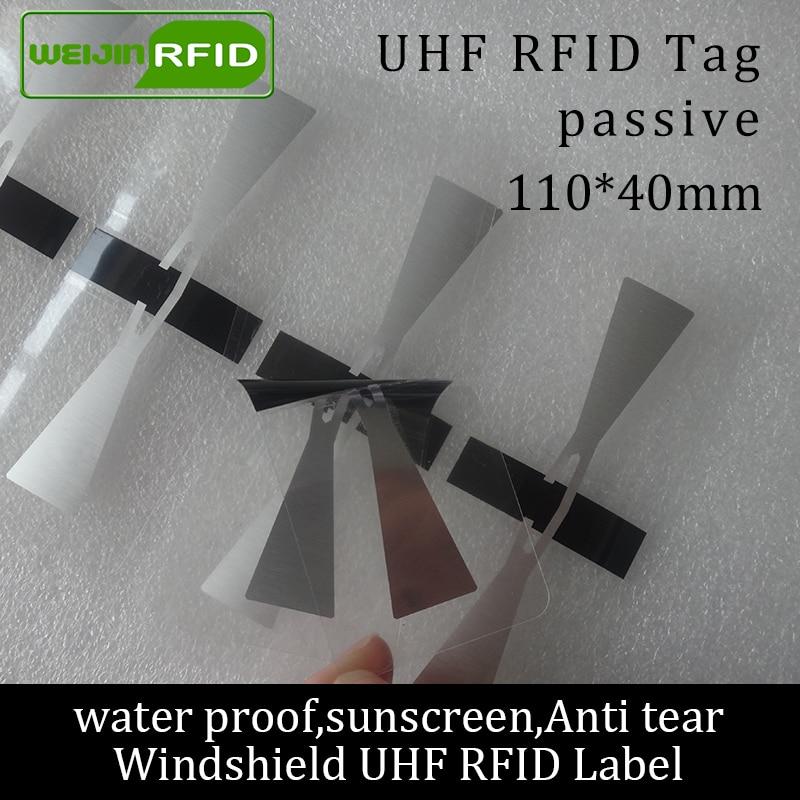 RFID Tag UHF Sticker Vehicle Windshield EPC 6C 915m868m860-960M M4QT Waterproof Sunscreen Anti-tear Adhensive Passive RFID Label
