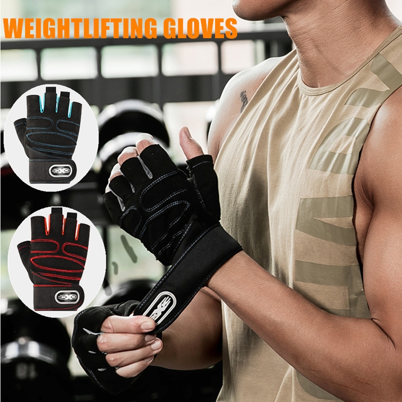 1 Pair Weight Lifting Gloves Deadlift Dumbbell Barbell Training Gloves Wrist Support BodyBuilding Gym Exercise Equipment