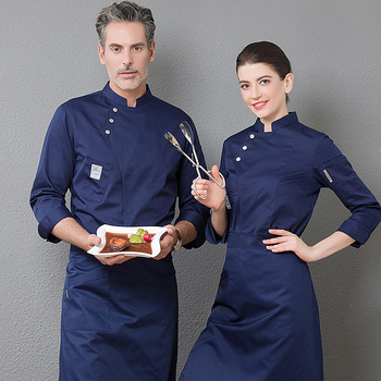 Uniforme azul chaqueta de manga larga uniforme de restaurante mujeres y hombres cocina Catering negro abrigo de cocinero doble botonadura ropa de cocinero