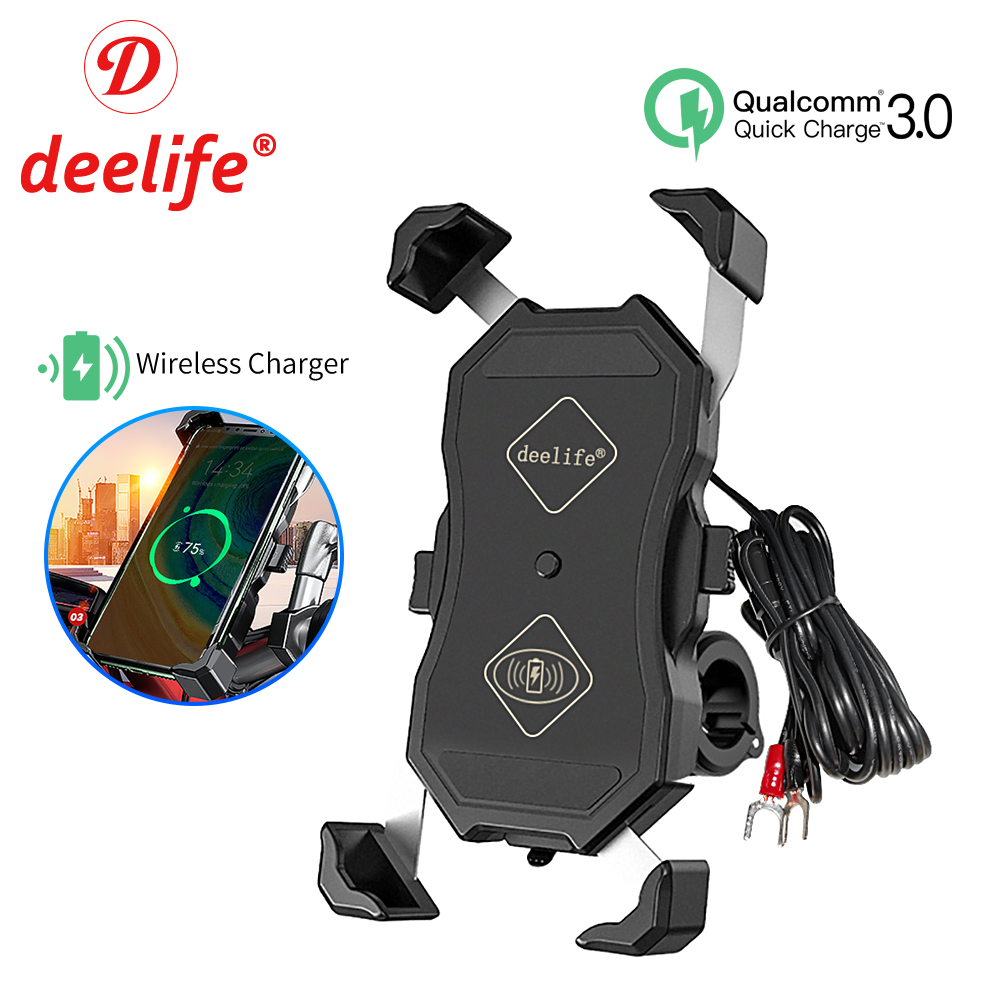 Deelife Motorcycle Mobile Phone Holder Mount With QC 3.0 USB Qi Charger For Scooter Motor Motorbike X-Grip Smartphone Support