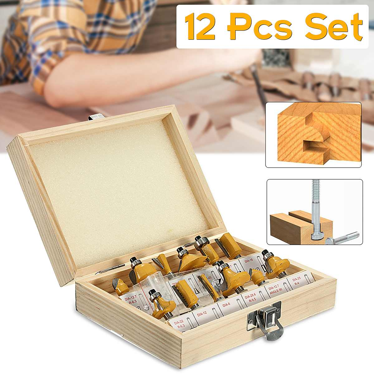 12pcs/set Woodworking Milling Cutters 1/4/8mm Shank Carbide Router Bit For Wood Cutter Engraving Cutting Tools