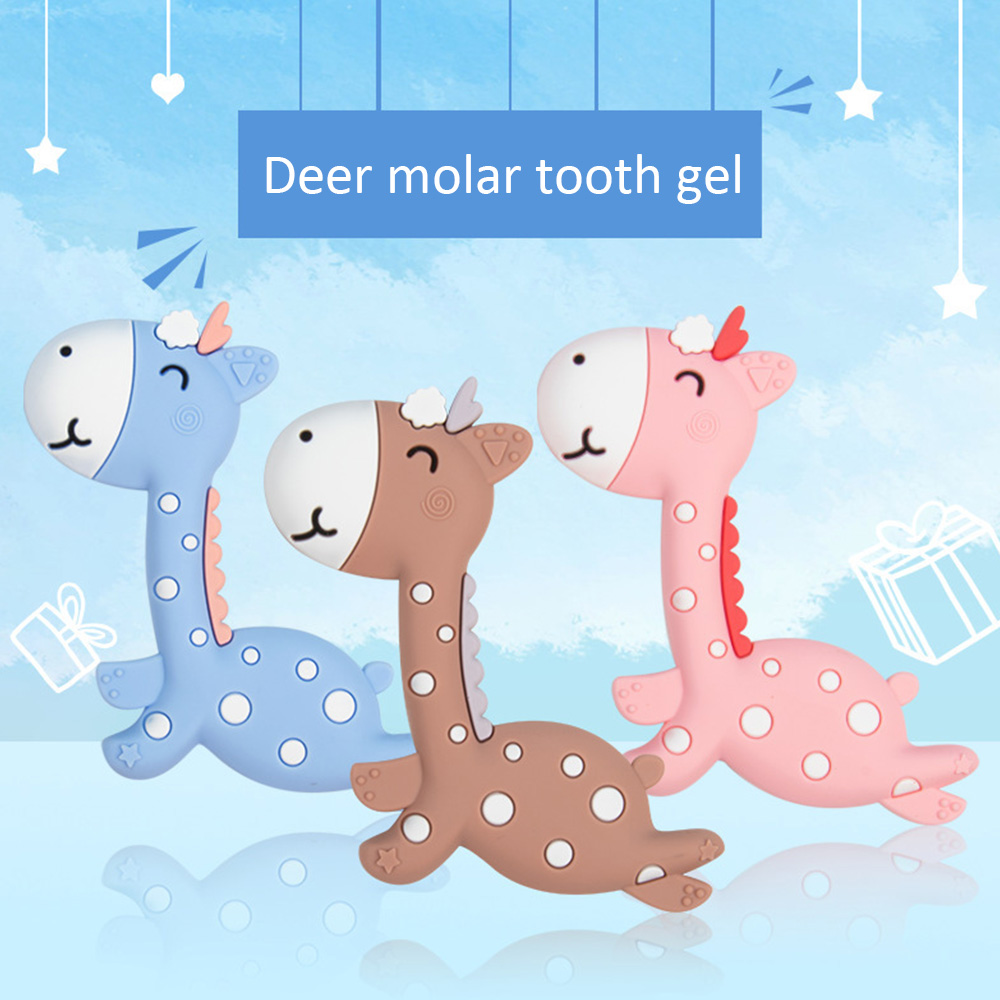 Silicone Giraffe Molar Teether Molar Stick Tooth Trainer Molar Toy Food Grade BS