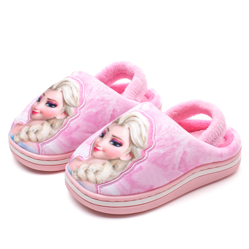 Girls Princess Frozen Elsa Anna Cotton Slippers Kids Non-slip Hole  Winter Home Warm Shoes