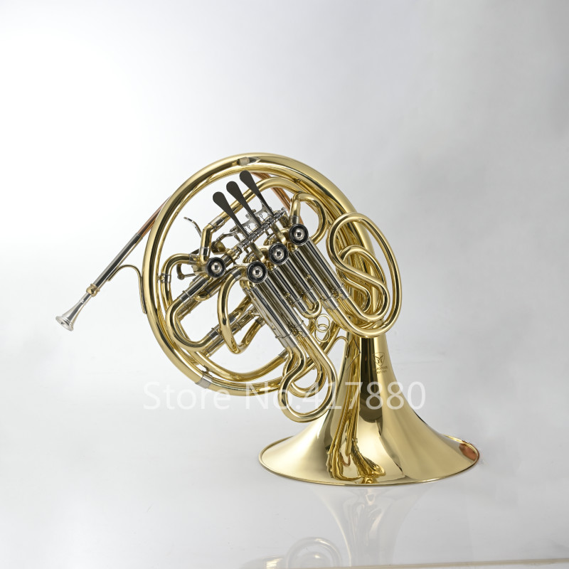 MARGEWATE MGT-Y401 Double-Row 4 Keys French Horn F Bb Key Brass Gold Lacquer B Flat Wind Instruments French Horn With Mouthpiece