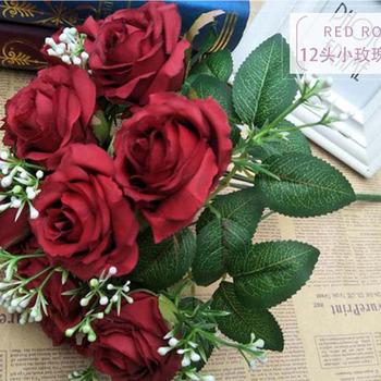 Bukiety ślubne akcesoria ślubne jedwabne kwiaty z tkaniny fałszywe jedwabne kwiaty ślubne tanie i dobre opinie perfectlifeoh SILK 29cm 25cm Bukiet ślubny 29kg