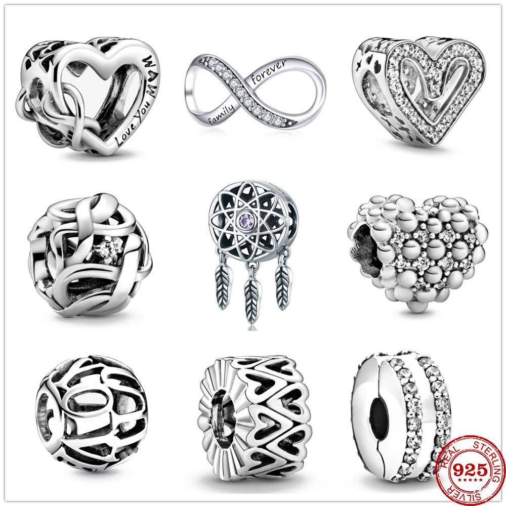 2020 Newst Love You Mum Infinity Heart Charm Bead fit Original Pandora charms silver 925 Bracelet Pulsera DIY Women Berloque(China)