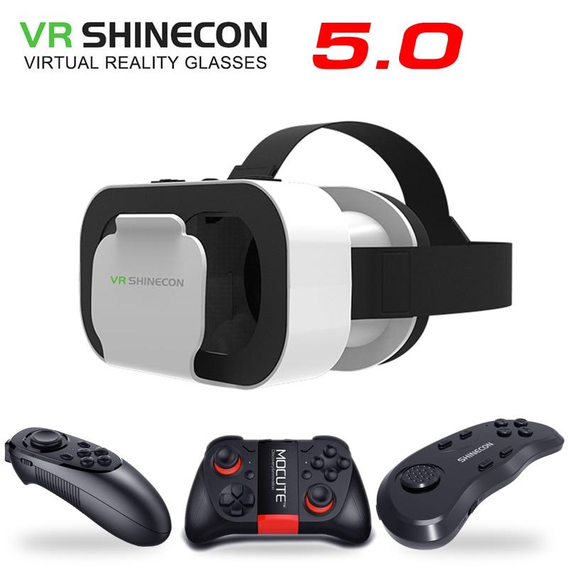 Vr shinecon 5.0 óculos de realidade virtual vr caixa óculos 3d para o telefone de 4.7-6.0 polegadas
