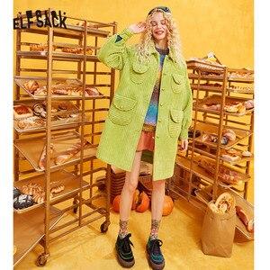 Image 5 - ELFSACK verde sólido de un solo pecho Trench Coat mujeres 2019 otoño invierno Especial bolsillo obispo manga Oficina señoras Outwears