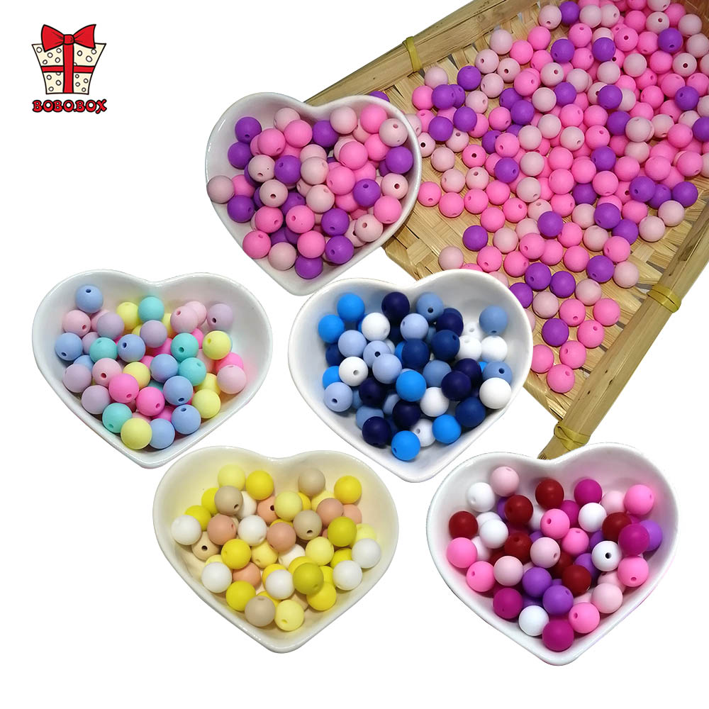 BOBO.BOX 300pcs Silicone Beads 12mm Food Grade Baby Teethers Beads Round Pacifier Chain Accessories Baby Silicone Teething Toys
