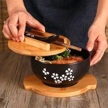 Tigela de macarrão de arroz estilo japonês com tampa colher e chopstick utensílios de cozinha cerâmica salada tigela de sopa recipiente de comida louça