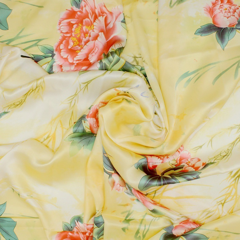 Silk Fabrics For Dresses Blouse Scarves Clothing Meter 100% Pure Silk Satin Charmeuse 16 Mill Yellow Red Printed Floral High-end