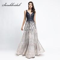 vestidos de fiesta de noche Navy Blue with White Evening Dresses Lace Women Pageant Dress Maxi Gala Party Gown L5499 abendkleide
