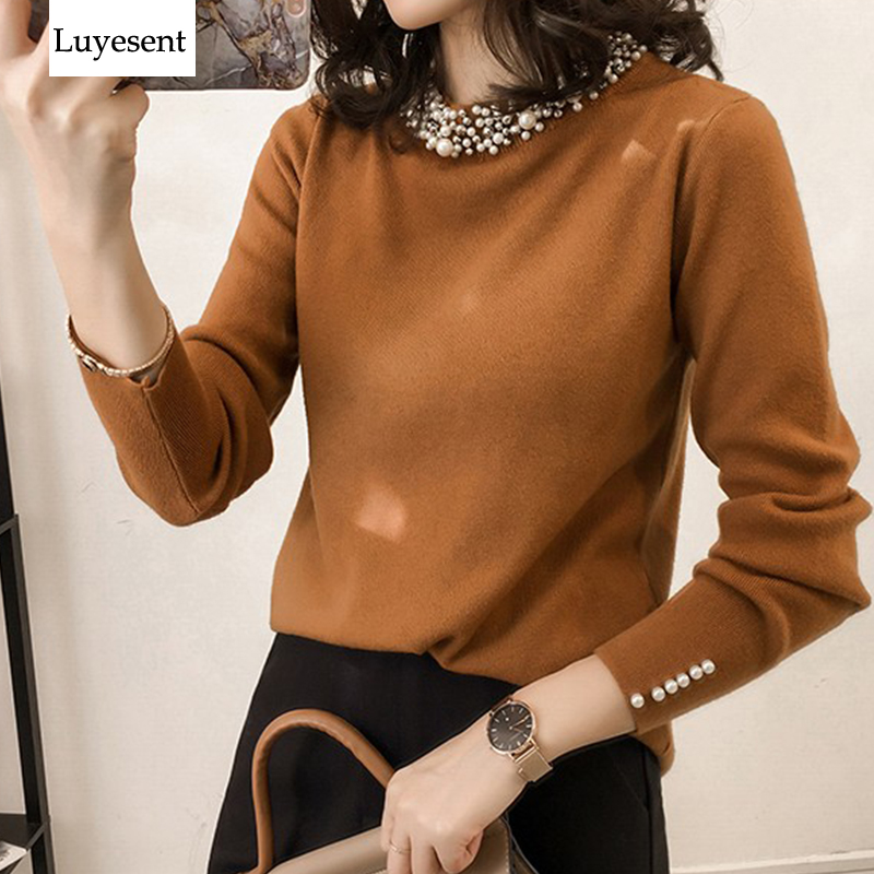 Pearl Brown Black Women Pullover Sweater 2019 Lady Long Sleeve O Neck Fashion Basic Knit Top Casual Korean Style Knitted Outdoor