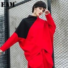 [EAM] kobiety Big Size czarny czerwony nieregularne brzegi T-shirt nowy, ze stójką z długim rękawem moda fala wiosna jesień 2021 1DD2681
