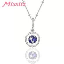MISSITA Mini Planet Earth Pendant Necklace for Women Globe Charm Anniversary Party Gift Fashion Jewelrye collares de moda 2019