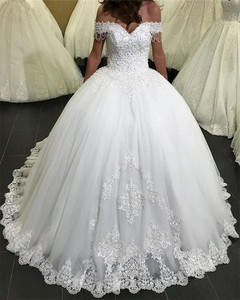 Image 1 - 2020 New Design Wedding Dress Ball Gown Sweetheart Tulle Lace Beading Elegant Bridal Wedding Gowns Customize EY38