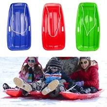 KIDS SNOW SLEDGE TOBOGGAN SLEIGH SLED HEAVY DUTY ROPE PLASTIC RED SKI BOARD