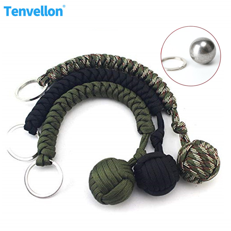 Outdoor Security Protection Monkey Fist Steel Ball For Self Defense Lanyard Survival Key Chain Broken Windows Keychain