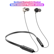 Magnetic attraction earphone Noise reduction Bluetooth headset 6D stereo Sweatproof Wireless Suitable for running fitnes