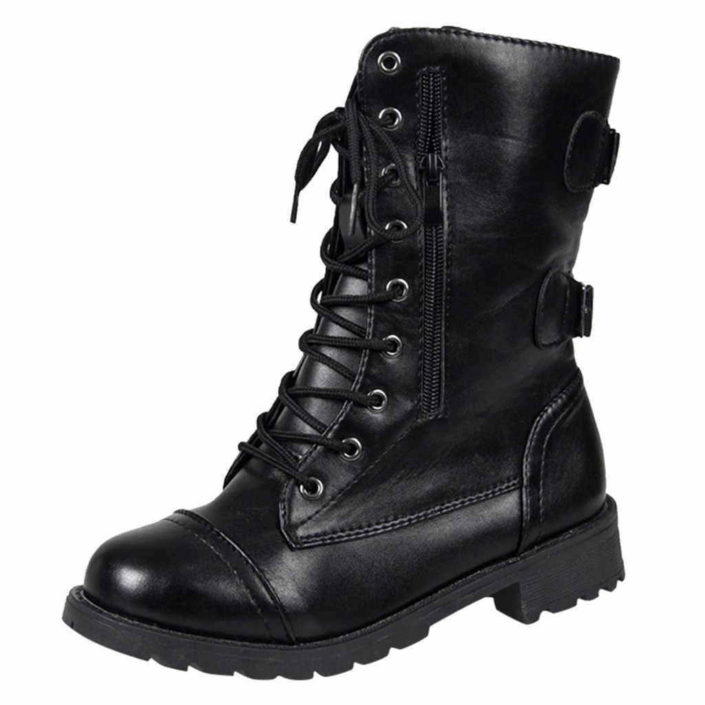 Kadın botları askeri kadın roma sürme kovboy yarım platform çizmeler fermuar orta buzağı çizmeler 2019 sonbahar ve kış yeni bayan ayakkabıları
