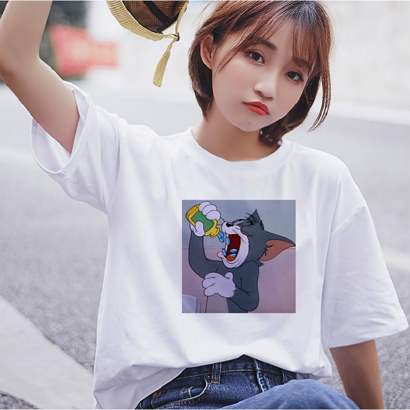 Ulzzang Harajuku Fun Cat Tom Mouse Jerry Cute Short Sleeve T-Shirt Summer New Large Size Loose Turtleneck O-neck Women T-Shirt