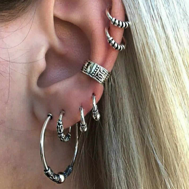 1 Set Sell Fashion Women Circle Metal Bohemian Clip Earringss for Women Personality Suit Jewelry Gift