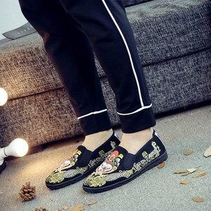 Image 3 - Veowalk miękkie dna mężczyźni bawełniana haftowana mokasyny komfort płaskie buty wsuwane na co dzień Walking trampki do jazdy samochodem buty Retro